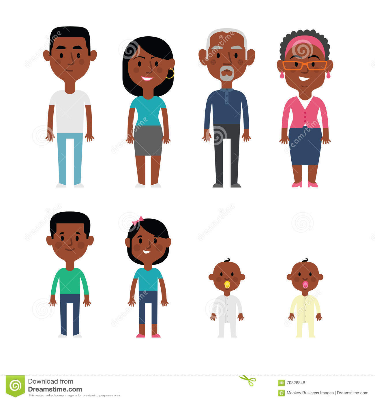 hight resolution of flat vector african american family members