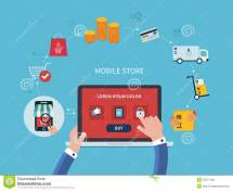 Flat Vector Design With -commerce And Online Stock