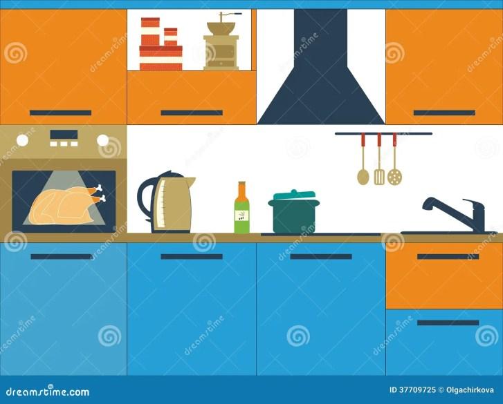 Flat Vector Illustration Kitchen Royalty Stock