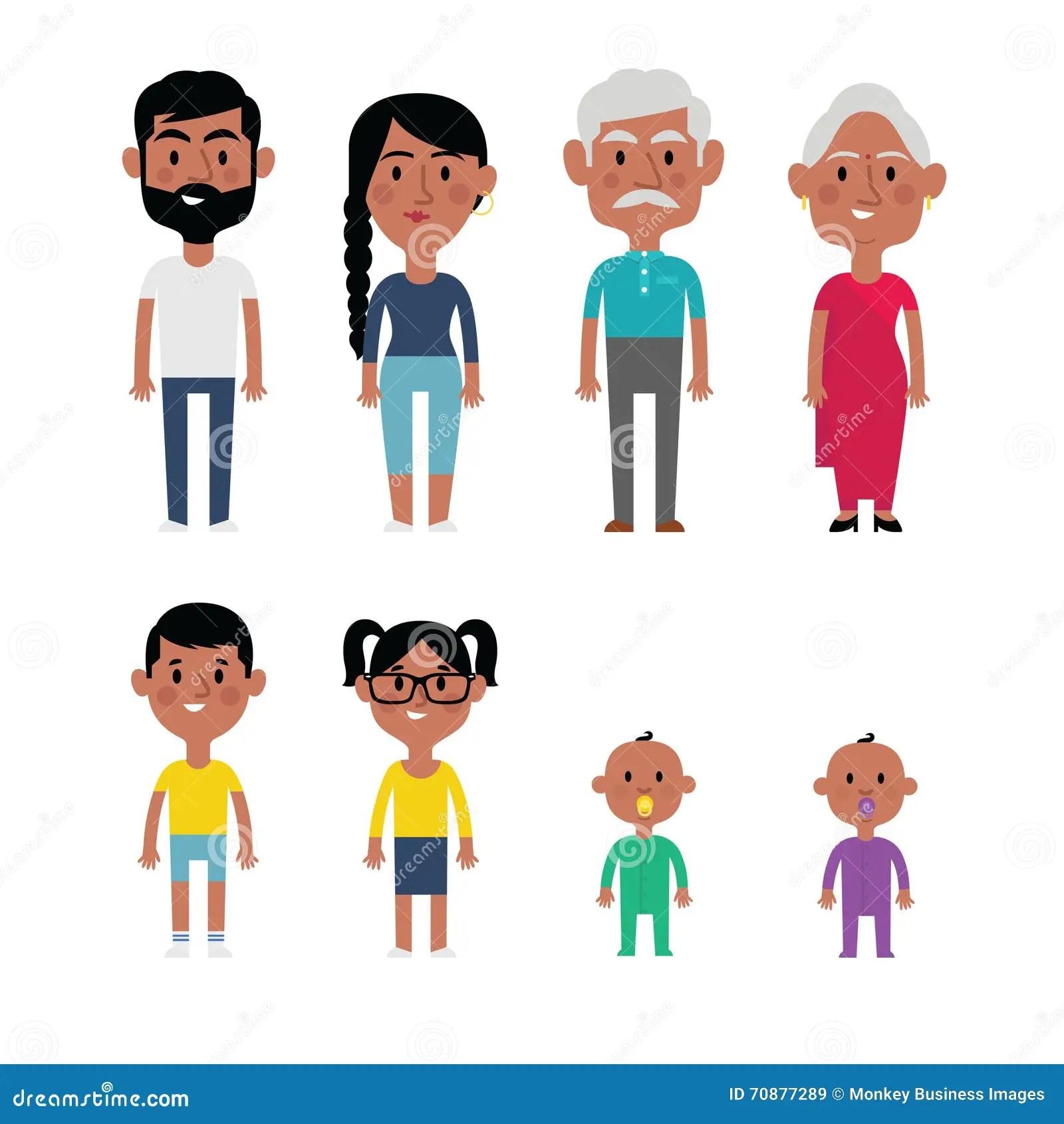 Flat Vector Indian Family Members Parents Grandparents