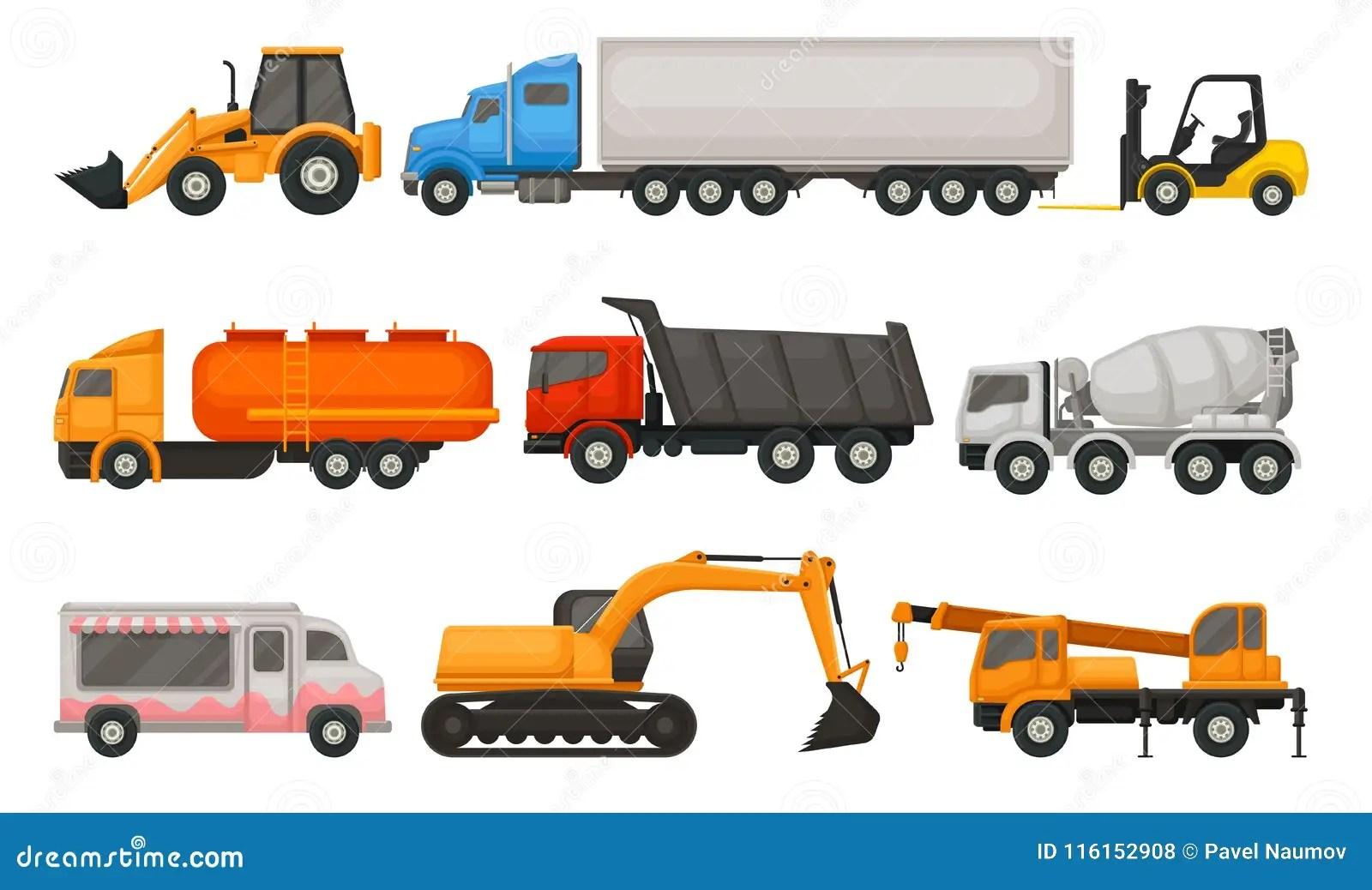 Flat Vector Set Of Various Types Of Vehicles Semi Trucks