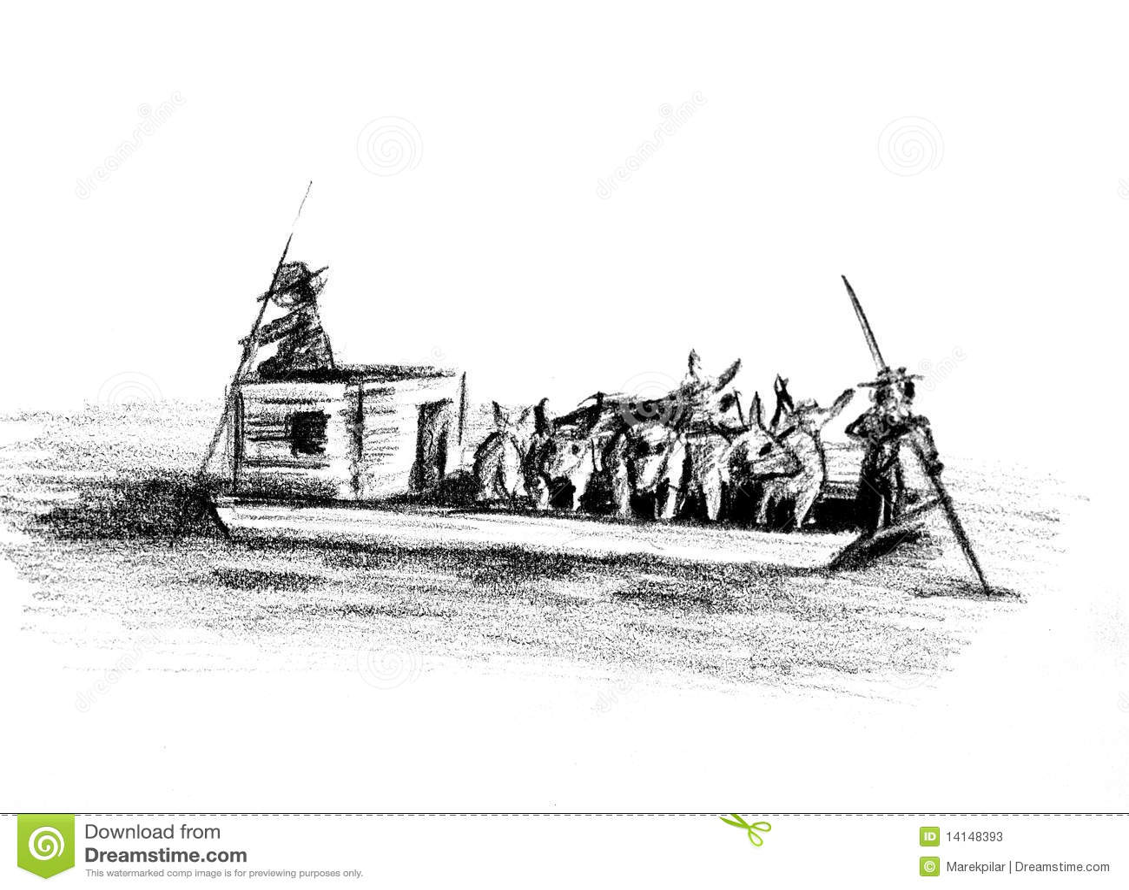 Flatboat With Livestock Stock Illustration Illustration