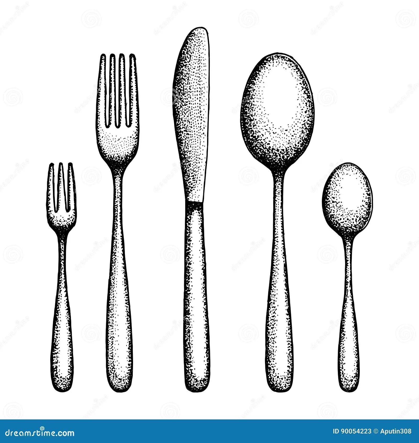 Flatware Hand Drawing Cutlery Vector Stock Vector