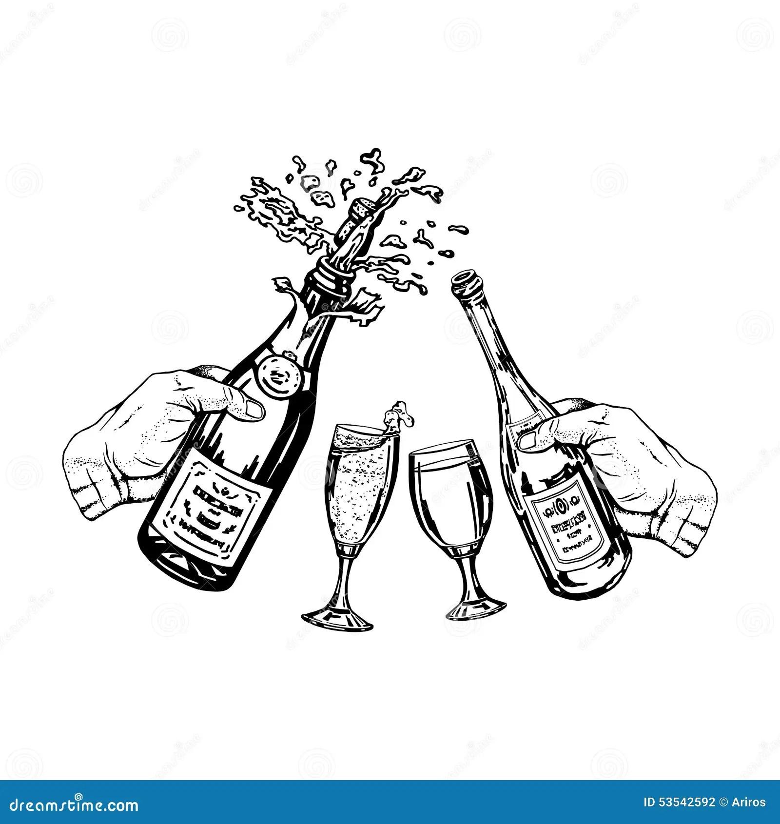 Fles Champagne En Fles Wijn Ter Beschikking En Glazen