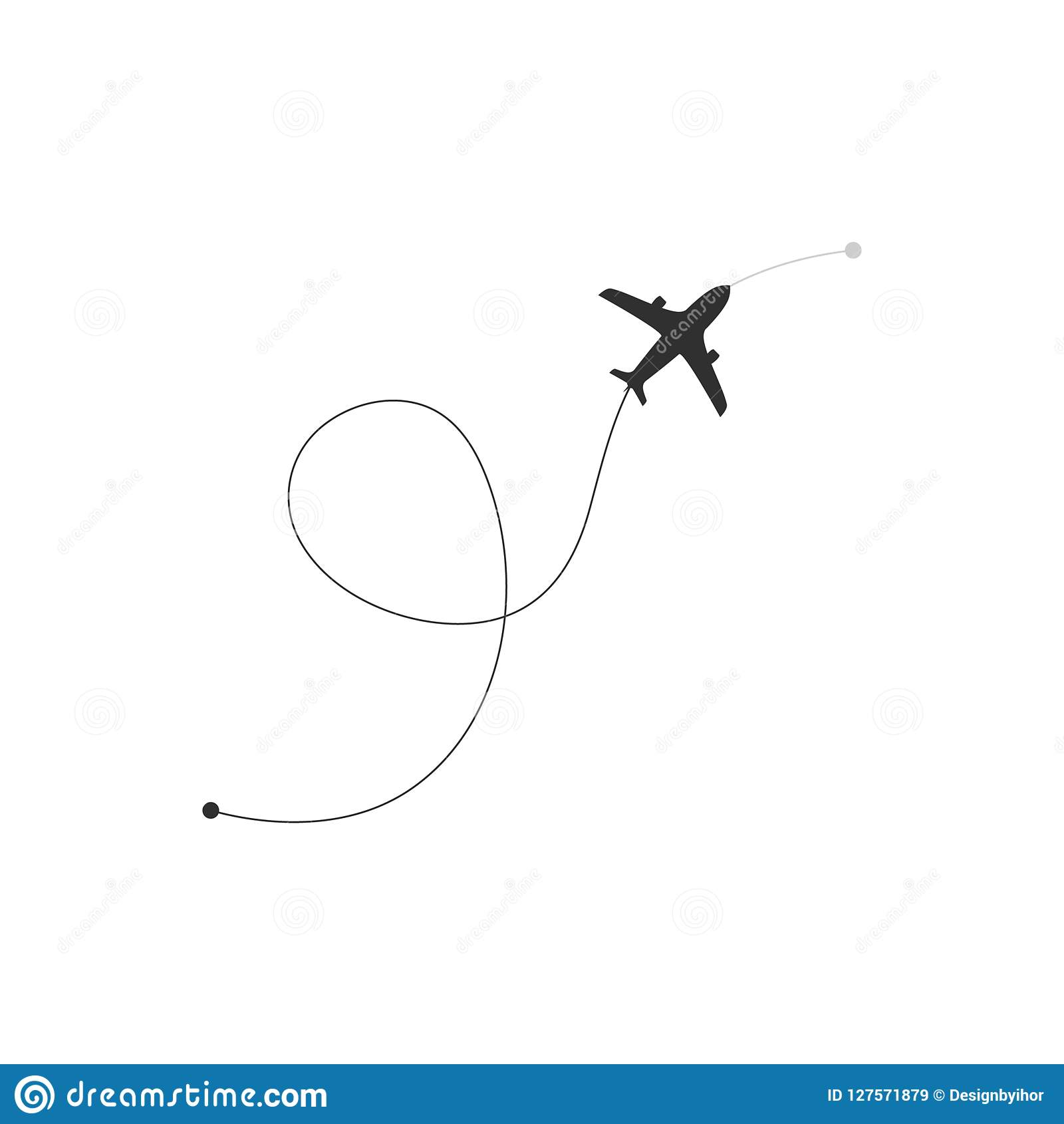 Flight Route Plane Icon Airplane Icon With Route From