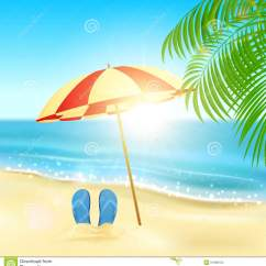 Beach Chair And Umbrella Clipart Cheap Parson Covers Flip Flops On The Stock Vector - Image: 51988724