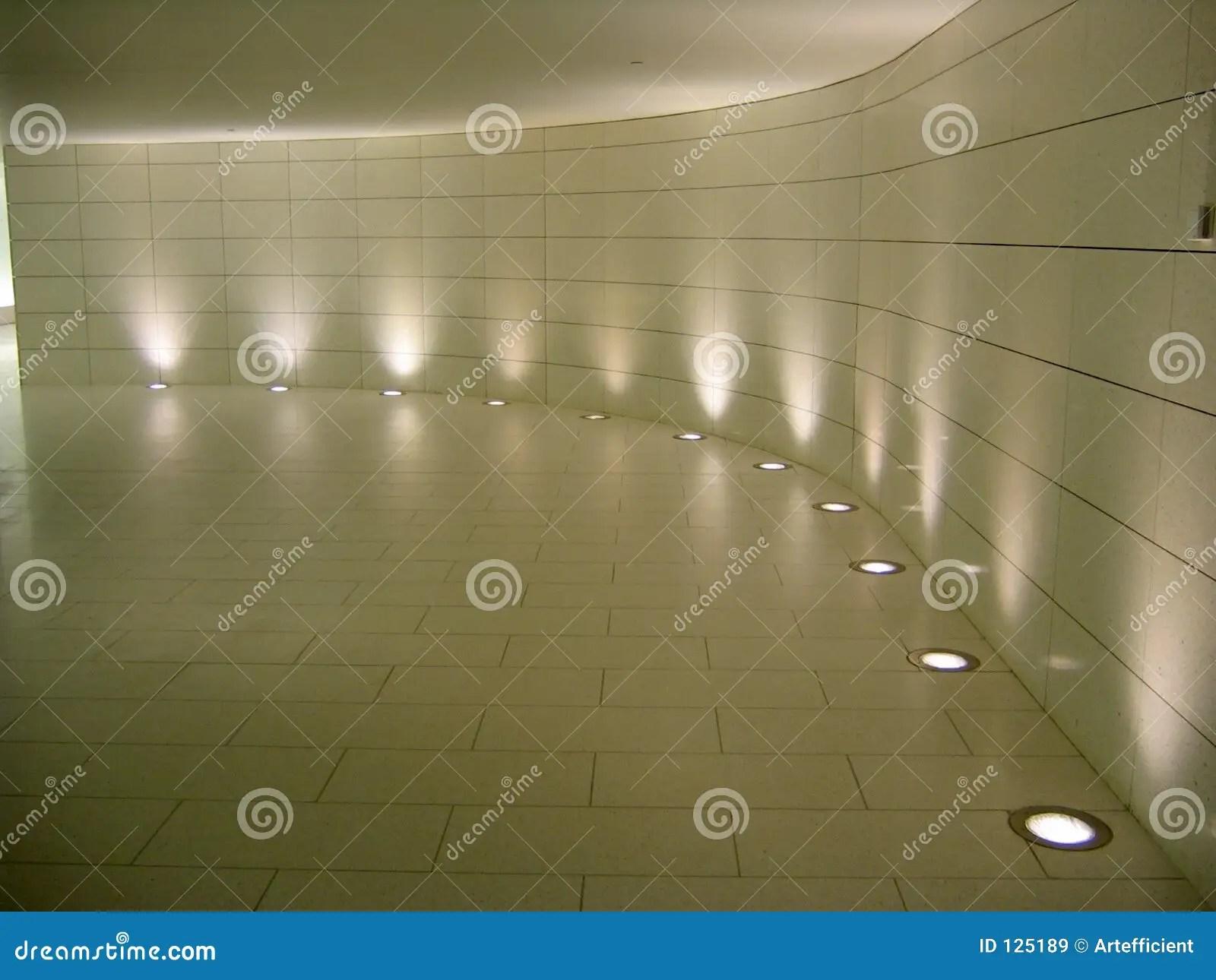 Floor Lights In The Underground Corridor Stock Image