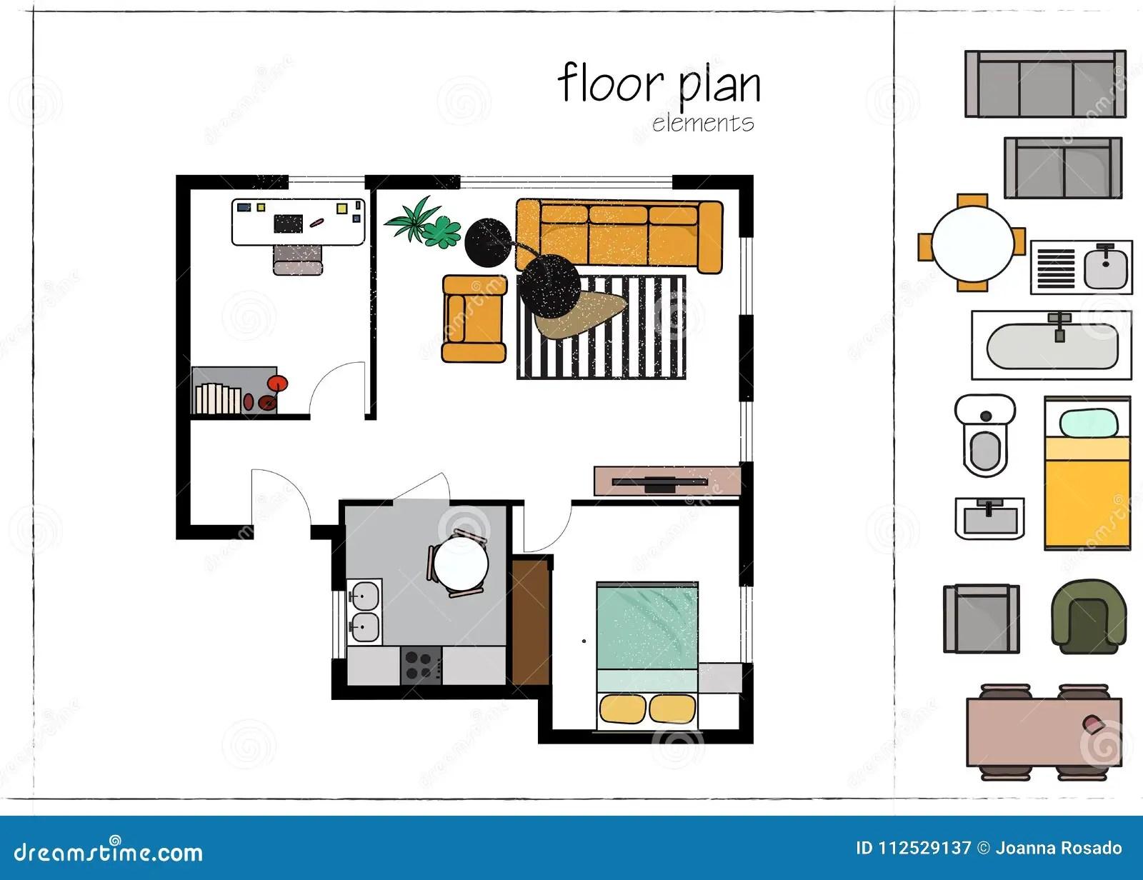 Modern Design Interior Design Floor Plan. Vector Illustration. Floor Plan Furniture Symbols. Stock Vector - Illustration of modern. blueprint ...