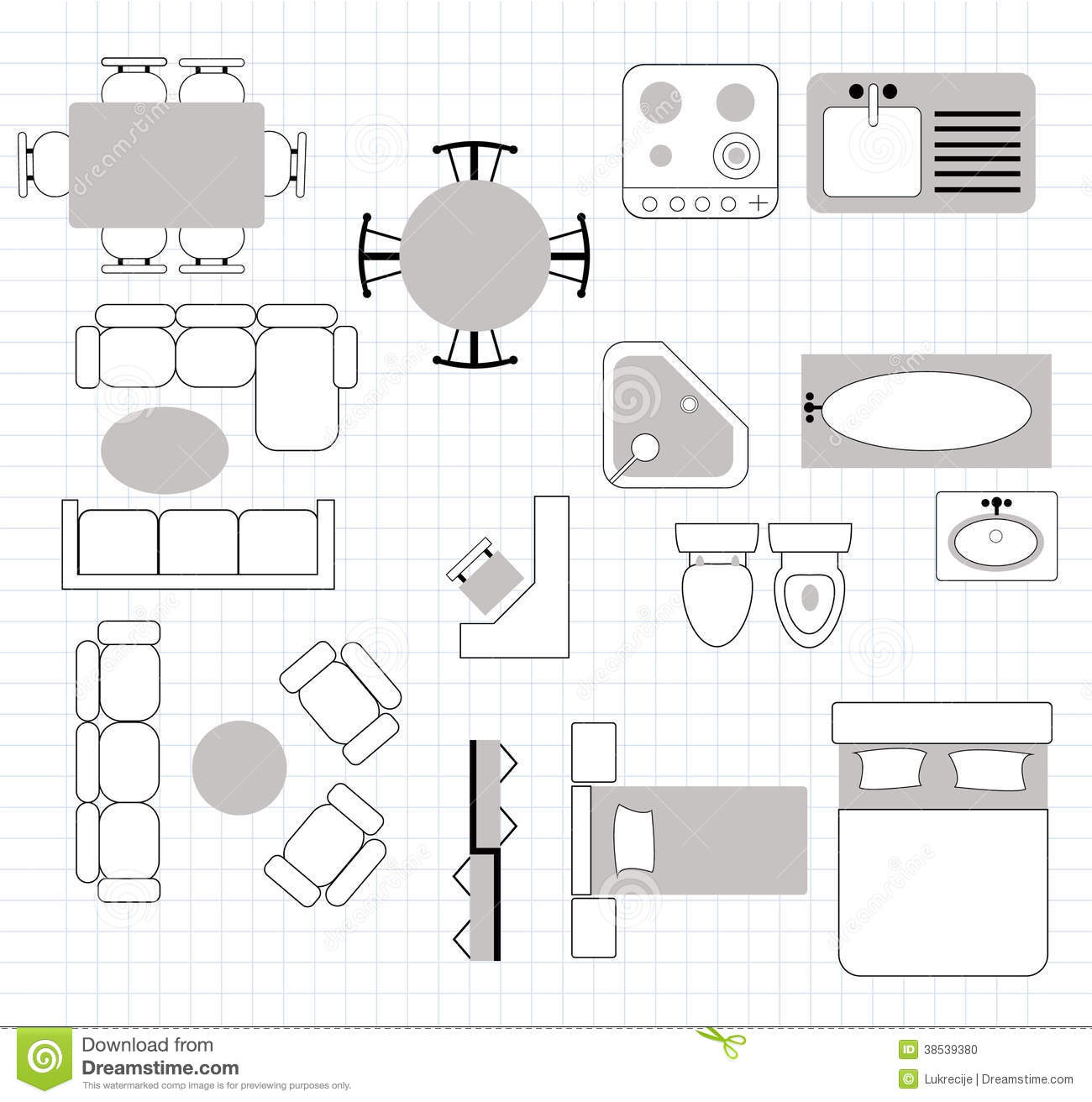 Floor plan with furniture stock vector. Illustration of