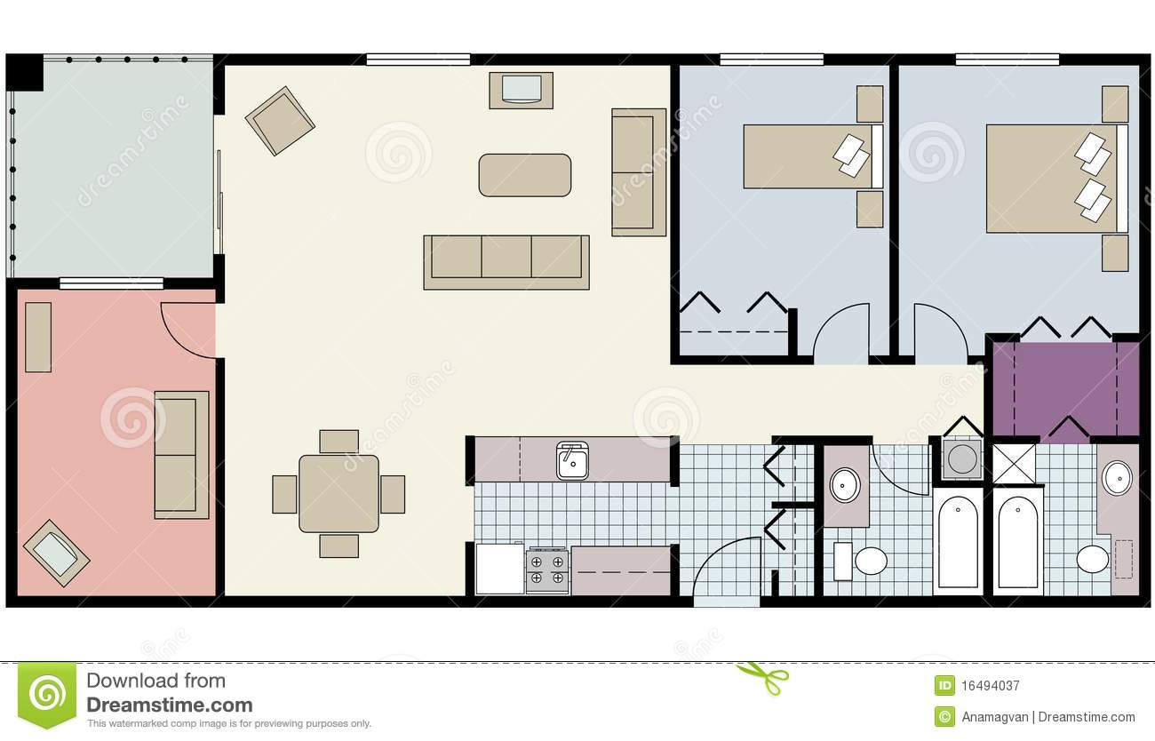 Floor Plan Of Two Bed Condo With Den Furniture Royalty