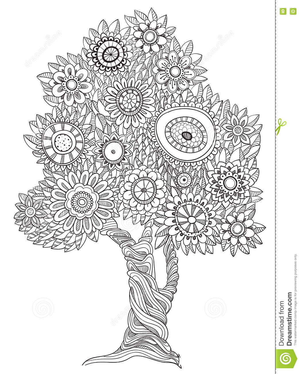 Floral doodle tree. stock vector. Illustration of east