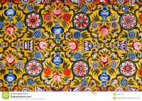 Floral Patterns On Colorful Mural Stock Image - Image ...