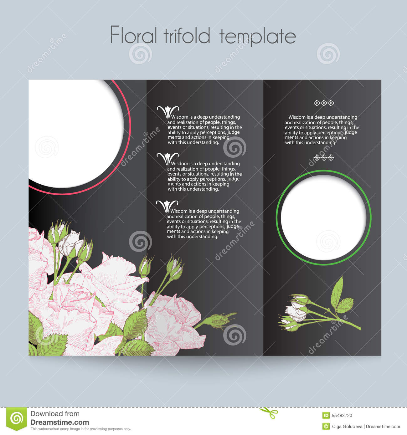 Floral Roses Template Trifold Mockup For Stock Vector