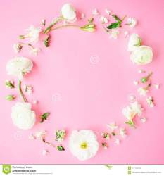 Floral Round Frame Made Of White Flowers Buds And Petals On Pink Background Flat Lay Top View Pastel Background Stock Image Image of flowers decor: 117182455