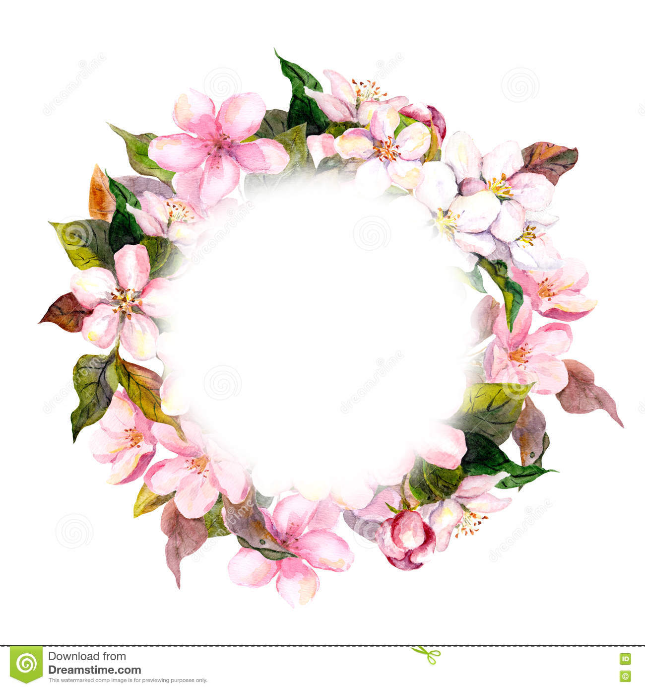 Floral Round Wreath  Pink Flowers Apple Cherry Blossom