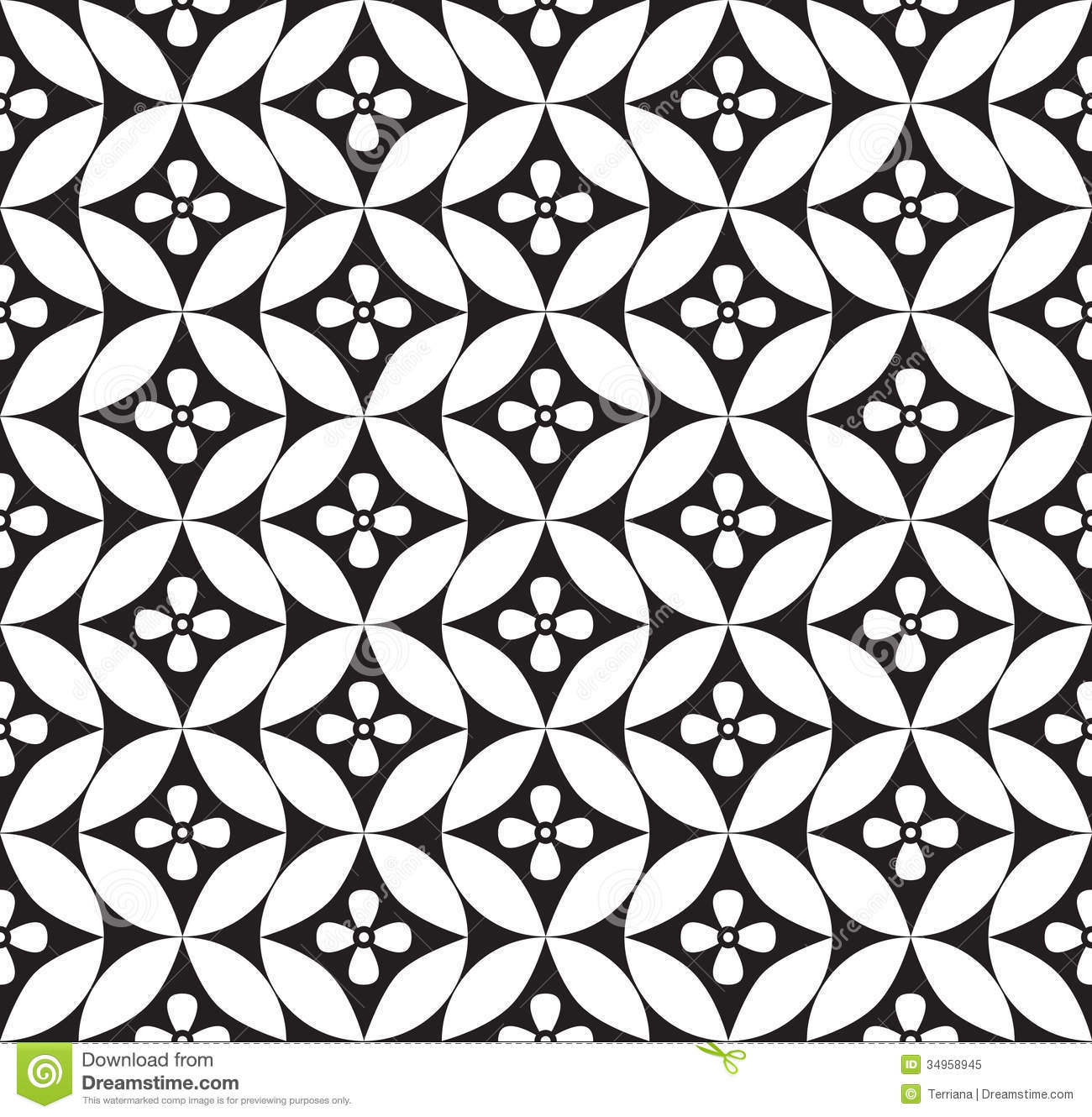 Floral Seamless Background. Abstract White And Black
