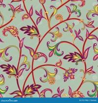 Floral Seamless Pattern. Flower Swirl Background. Arabic ...