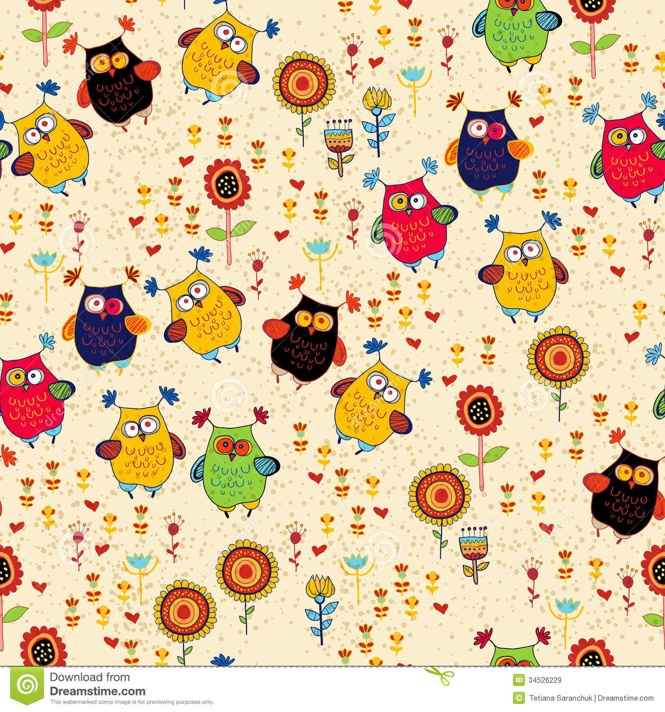 Hello Kitty Fall Wallpaper Floral Seamless Pattern With Owl And Bird Stock Vector