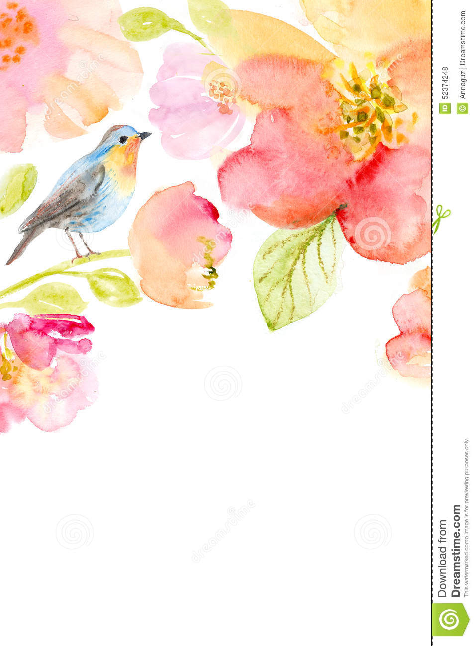 Floral Watercolor Background With Beautiful Flowers Stock