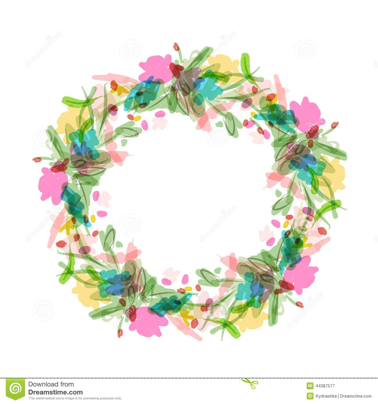 floral wreath sketch for