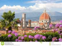 Florence Cathedral With Flowers Italy Stock