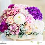 Flower Arrangement In White And Purple Stock Photo Image Of Color Flora 51202406