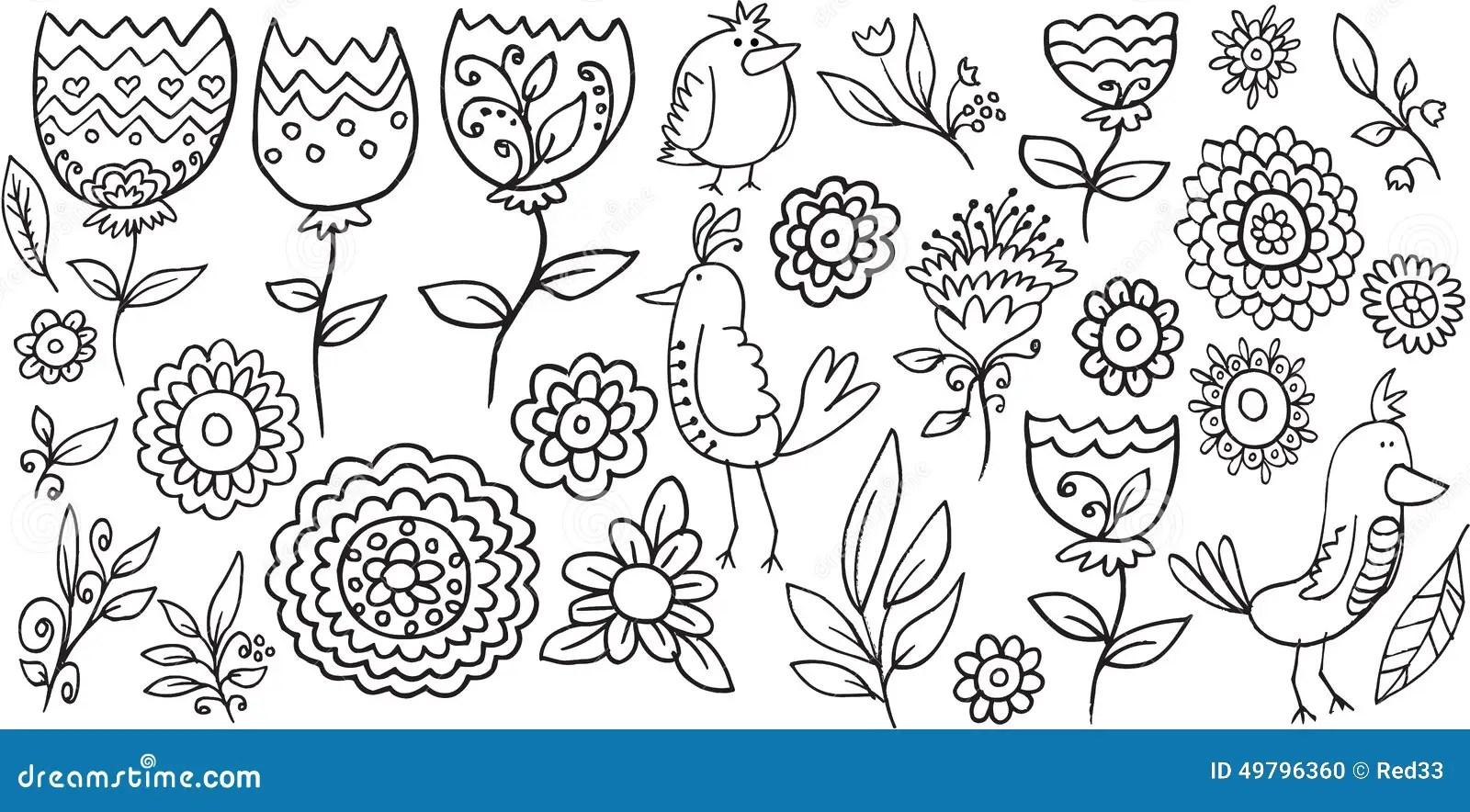 Flower Bird Doodle Vector Stock Vector  Image 49796360