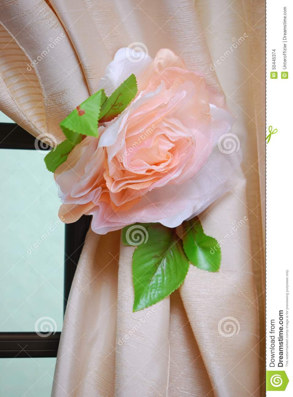 flower curtain tie back stock photo image of insulation 50445374