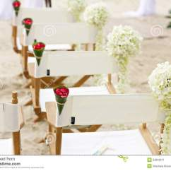 Chairs Wedding Decoration Used Dog Wheelchair Flower Chair On Beach Venue Stock Image