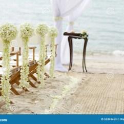 Beach Wedding Chair Decoration Ideas Stool Ghana Flower On Venue Stock Photo