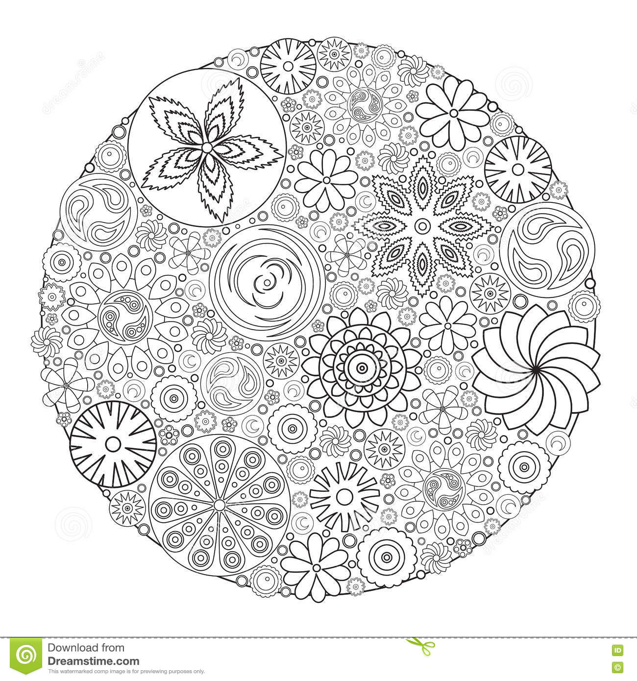 Flower Design For Coloring Book For Grown Up. Stock Vector