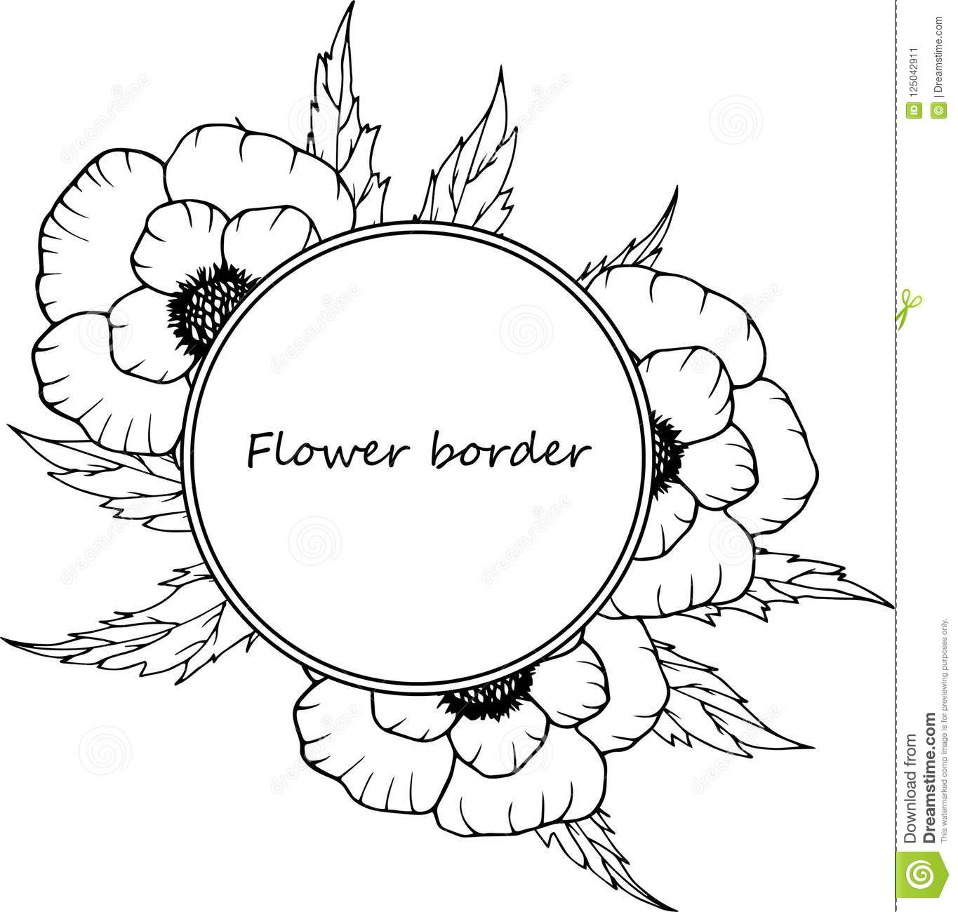 Flower Drawing Frame. Isolated Template. Hand Drawn Floral