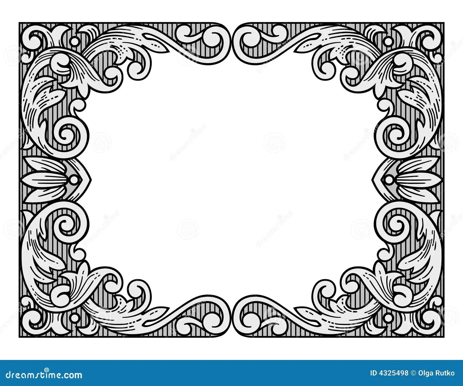 Flower Engraving Frame Stock Vector Illustration Of Retro