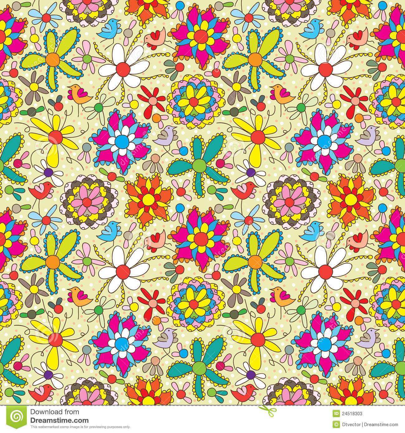 Cute Vintage Floral Wallpaper Flower Fill Colorful Seamless Pattern Eps Stock Photos