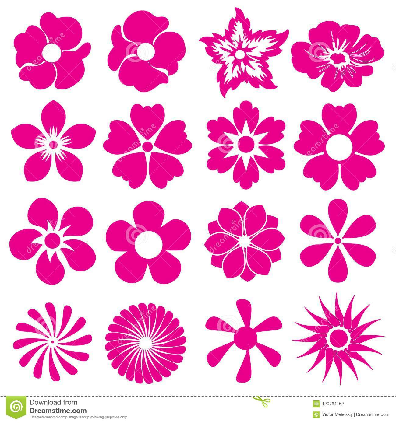 hight resolution of flower icon set different type of flowers vector illustration