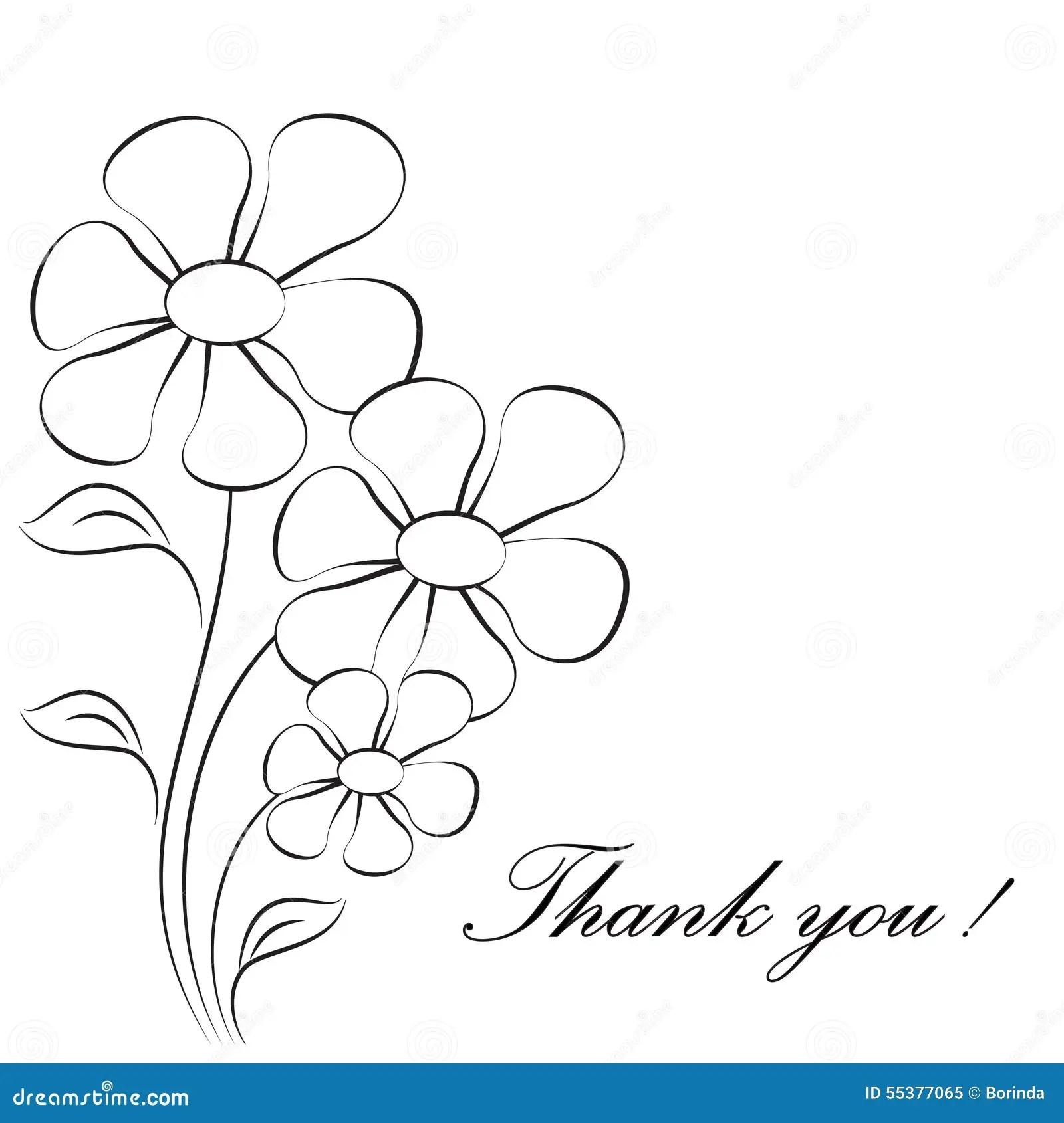 Flower Illustrations, Thank You Card Stock Illustration