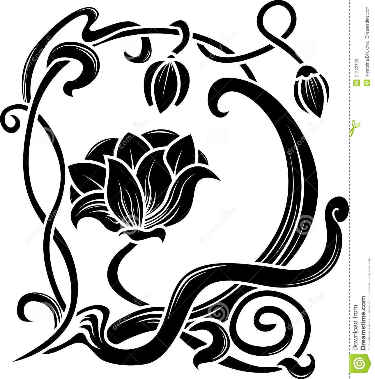 Flower stencil stock vector. Illustration of creative