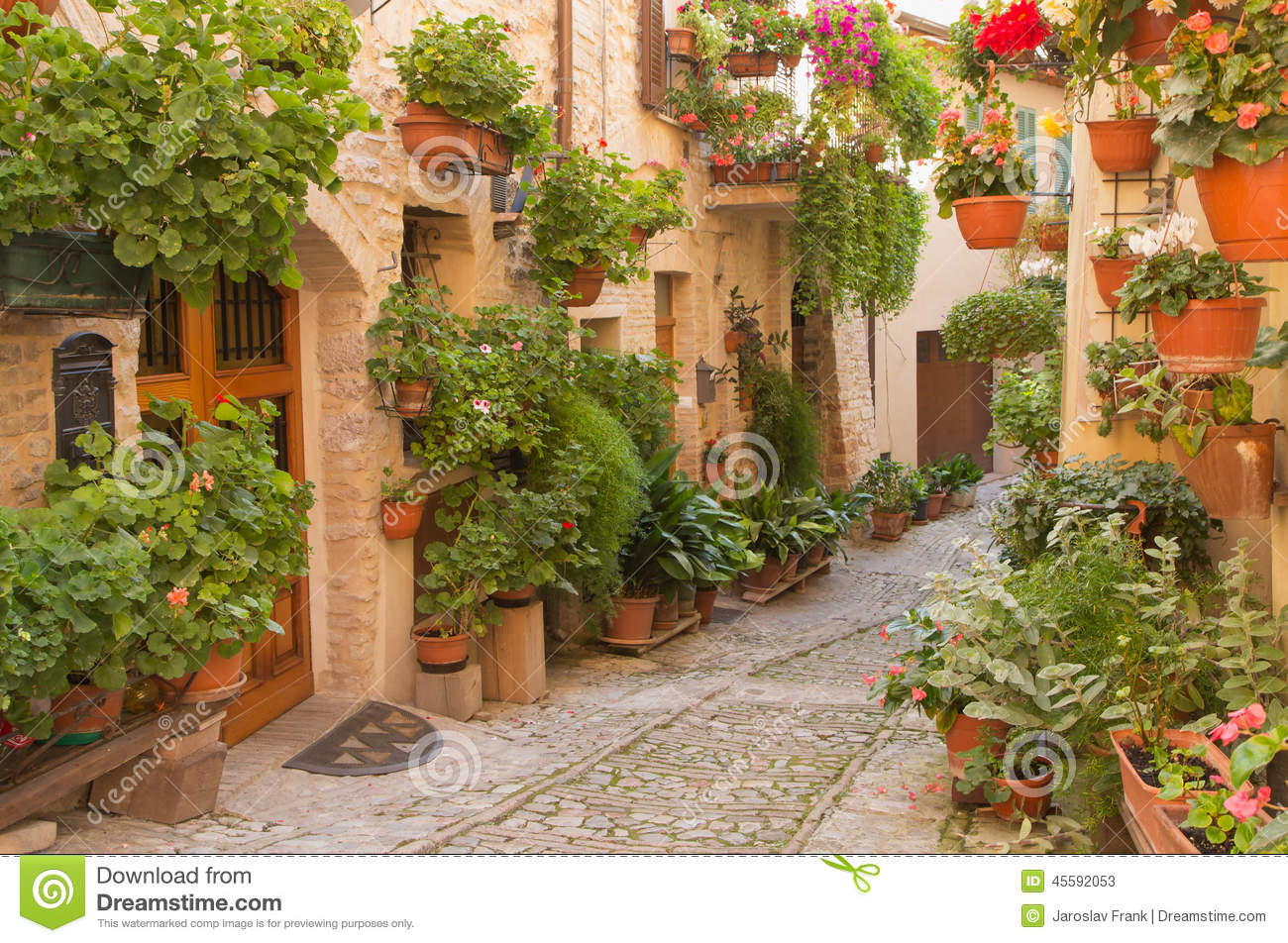 Flower Street In The Town Of Spello Umbria Italy Stock