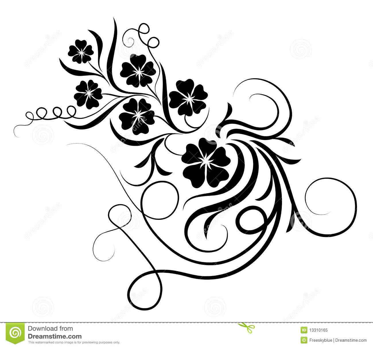 Flower And Vines Silhouette Stock Illustration