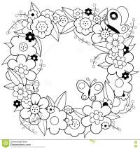 Flower Wreath Coloring Book Page Stock Vector ...