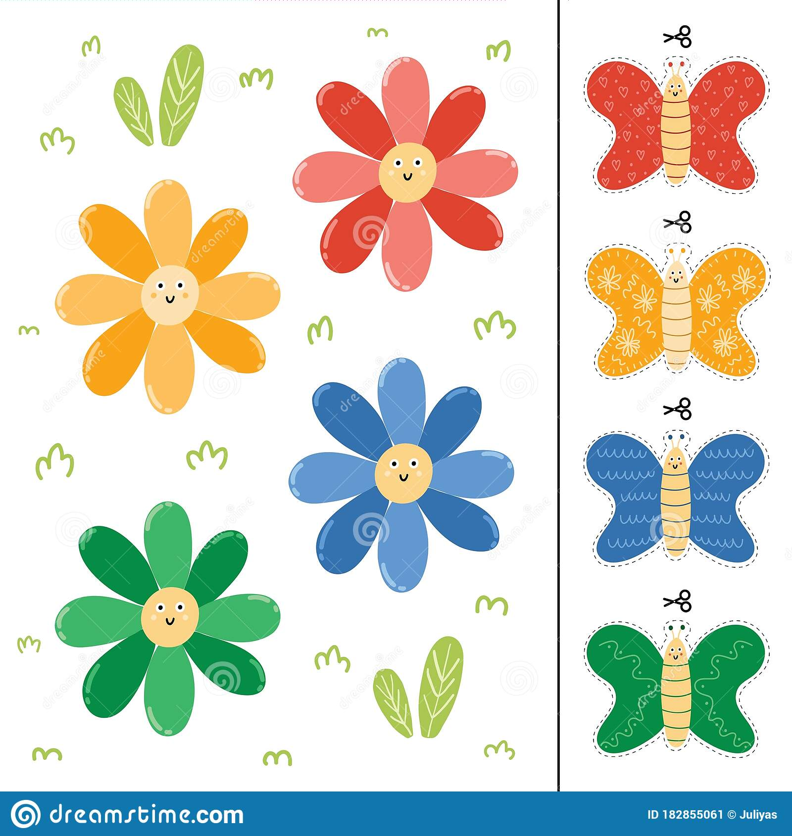 Flowers And Butterflies Color Matching Game For Kids Stock
