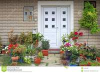 Flowers Entrance stock image. Image of garden, house
