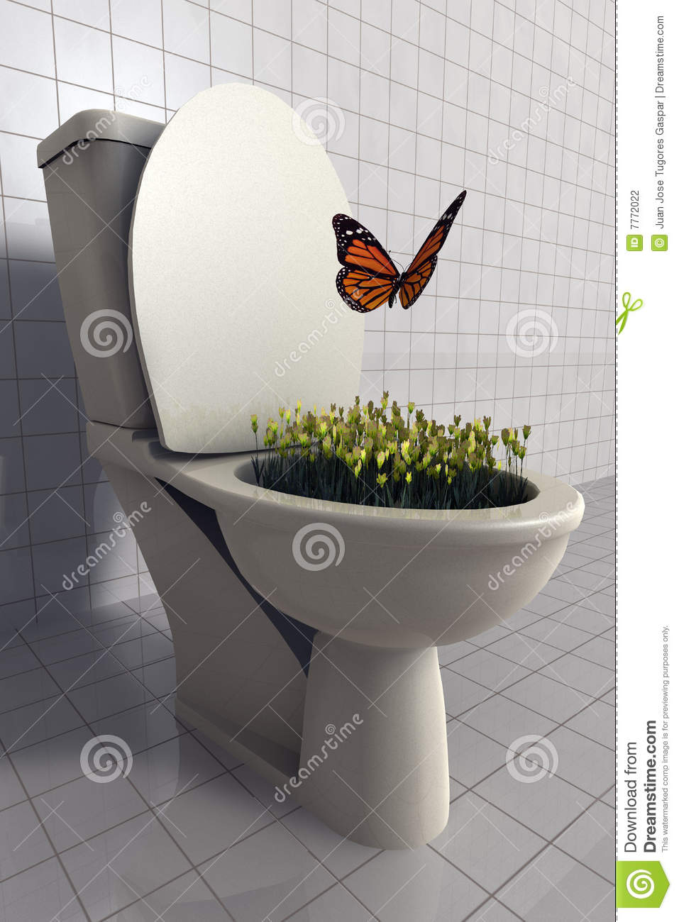 Flowers Growing In Toilet Stock Photography  Image 7772022