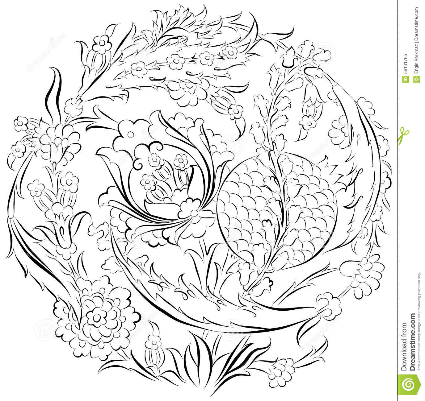 Flowers And Pomegranate Ornamental Drawing Stock