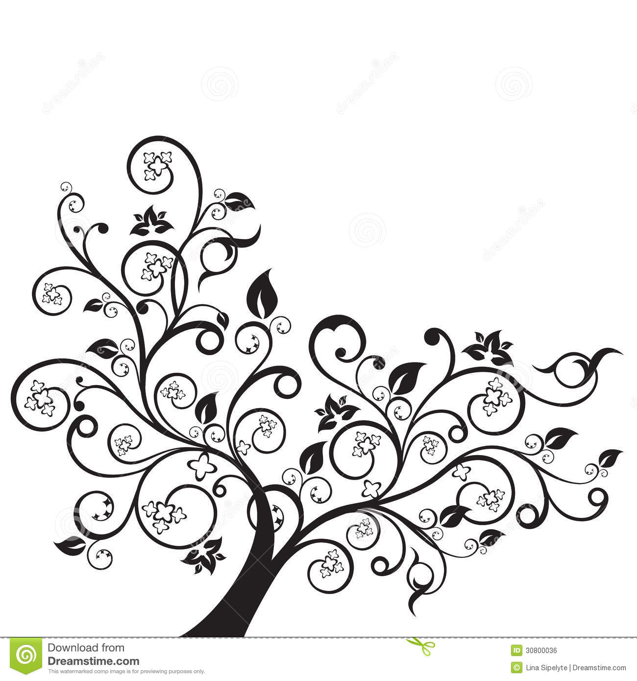 Flowers And Swirls Design Element Silhouette Vector