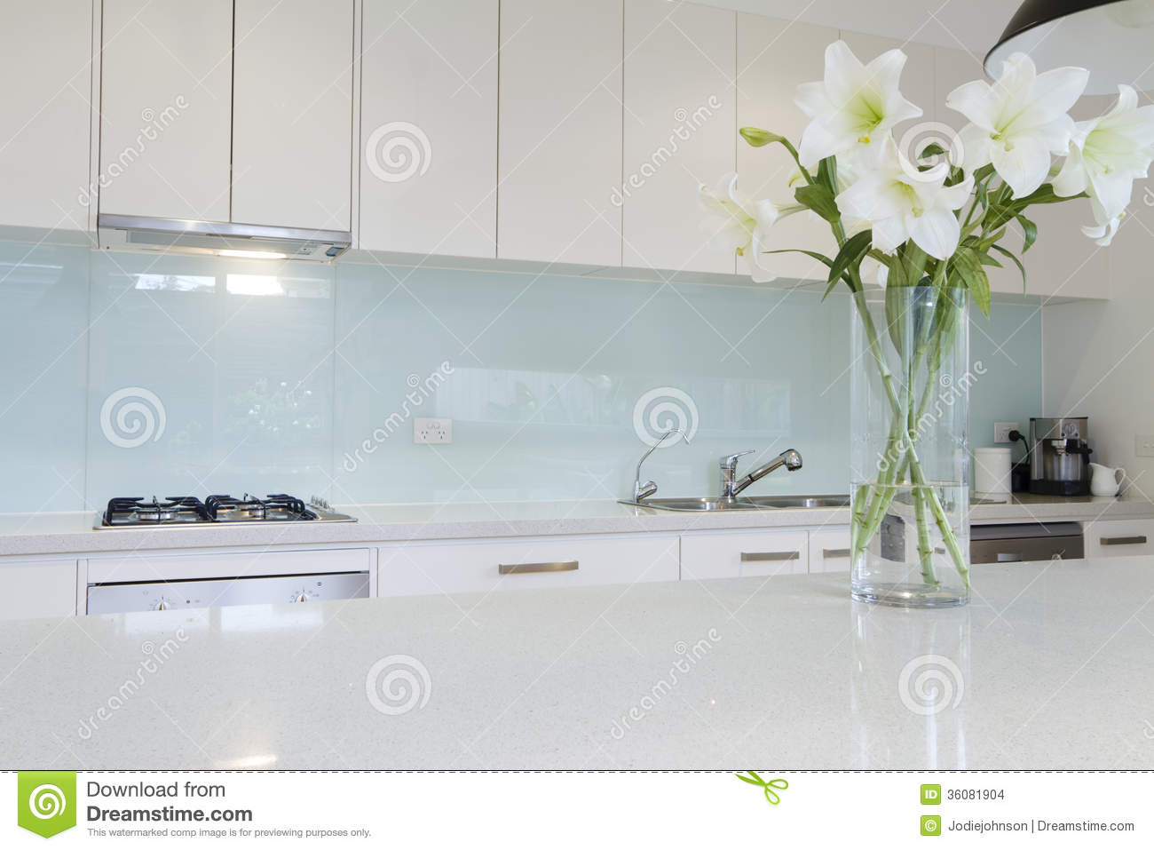 white kitchen bench cottage style cabinets flowers on stock photo image of detail decor