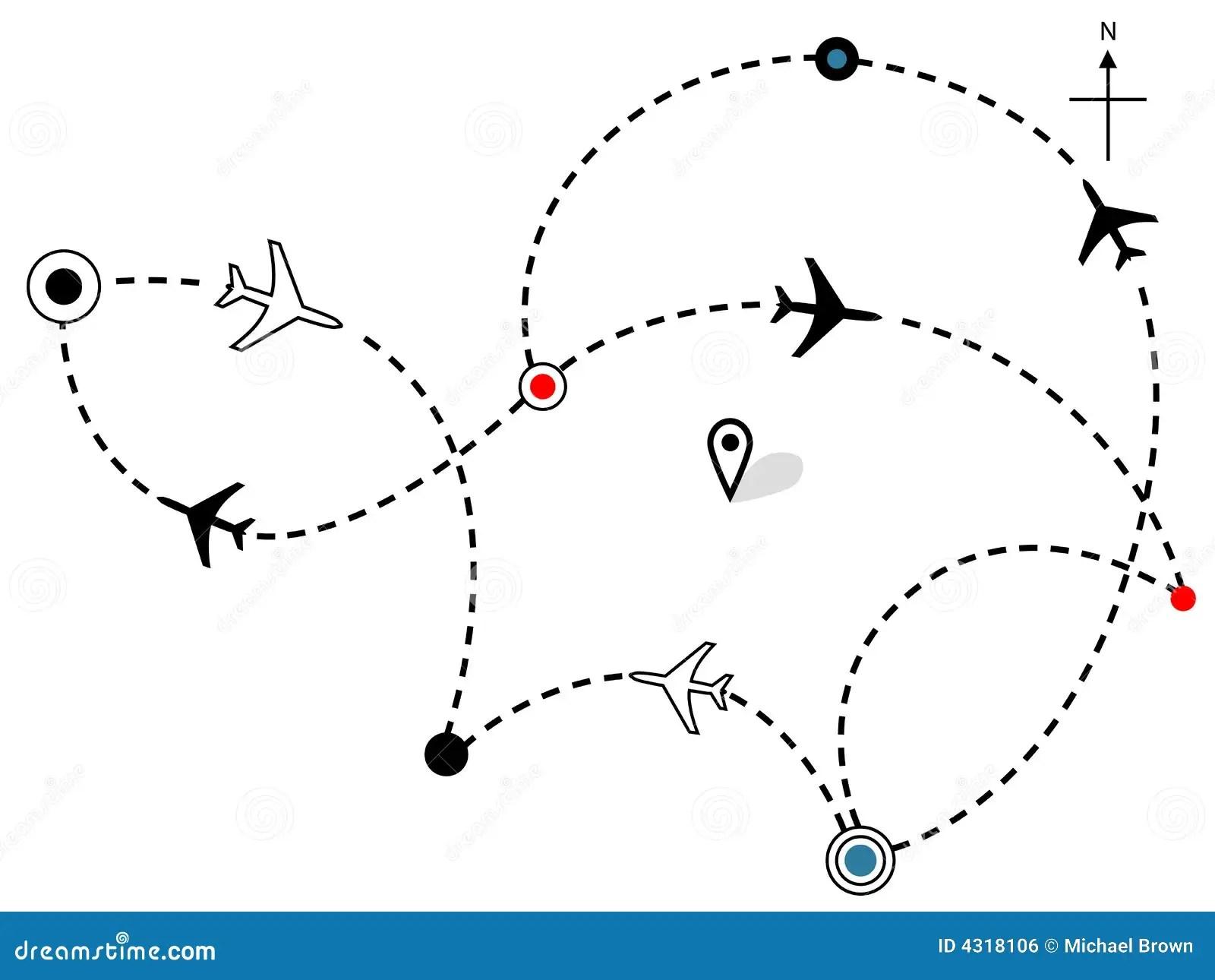 Fluglinien Flache Flugweg Reisen Plan Karte Vektor