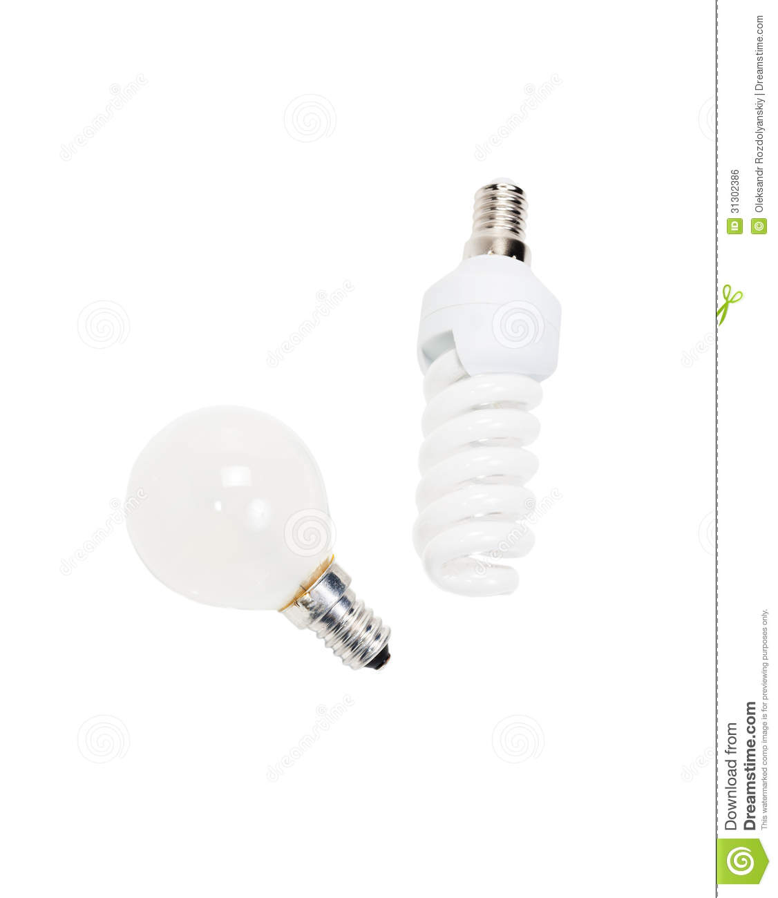 Fluorescent And Incandescent Lamp Royalty Free Stock Image