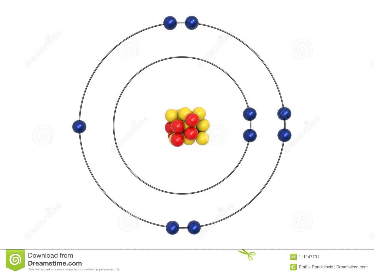 Fluorine Atom Bohr Model With Proton Neutron And Electron
