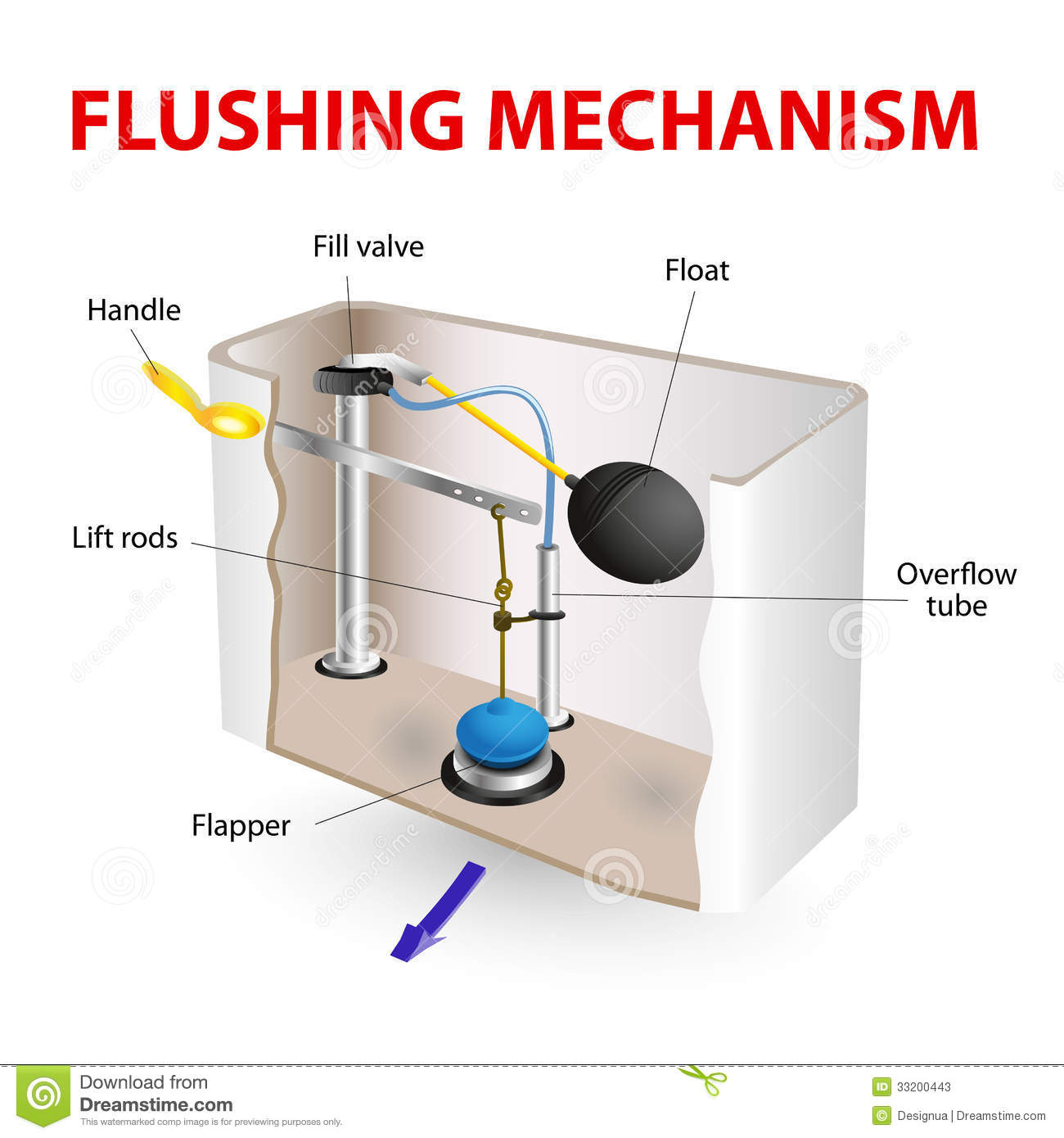 hight resolution of flush toilet flushing mechanism vector diagram how its made